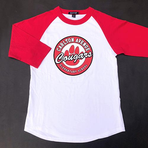 Spirit Wear - Kids Baseball Tee, 3/4 Sleeves, Paw Logo