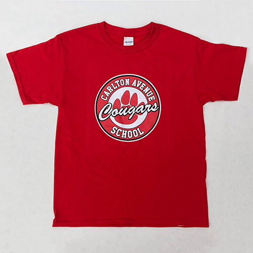 Spirit Wear - Kids Crew Neck Tee, Red, Paw Logo