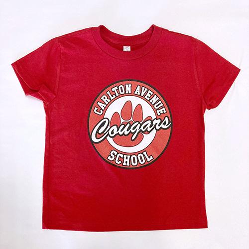 Spirit Wear - Toddler Crew Neck Tee, Red, Paw Logo